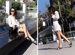 Vivi Valenzuela - Romwe White Lace Dress, Basement Leather Sandals, Michael Kors Bucket Bag, Forever 21 Sunglasses - A WHITE LACE DRESS