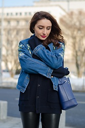 Cristina Feather - Zaful Denim Jacket, Furla Stacy Bag, Asos Leggings - Flowery denim jacket