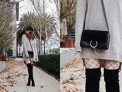 Taylor Smith - Love Stitch Sweater Dress, Chloé Chloe Faye Bag, Steve Madden Over The Knee Boots - Sweater Dress and Fishnets