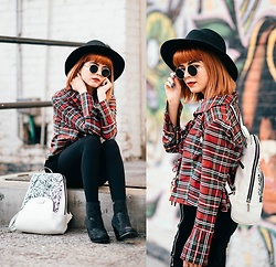 KENDALL SANCHÈZ - It's Kendall Kay Style Blog, Visit Me On Instagram!, Splatter Paint Backpack, Little Lavander Vintage Plaid Top, Foreign Exchange Velvet Zipped Up Shorts, Juicy Couture Sequined Ankle Booties, Round Sunglasses, Black Round Hat, Black Opaque Tights - .Around the World in a Day//Prince.