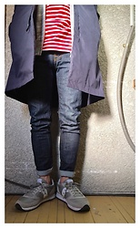 Keysyu Takagi - Globalwork Outer, Orcival Cut And Sew, Globalwork Parka, Nudie Jeans, Saucony Shoes - Outfit