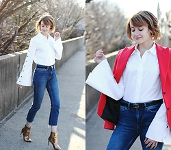 E Maille - Pixie Market Bell Sleeve Button Down, Gucci Belt, Topshop Jeans, Zara Ankle Boots - An elevated white shirt