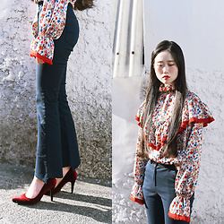 Autumn Kim - Phila Petra Floral Frilled Blouse, Phila Petra Cut Out Pants, Phila Petra Velvet Heels - Spring of red