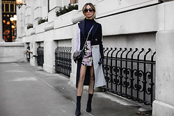 Jessi Malay - Topshop Petite Colorblock Coat, Tony Bianco Diddy Boots, Topshop Jacquard Pelmet Skirt, Thale Blanc Textured Leather Bag, Peverse Cat Eye Sunglasses - 3 Simple Ways To Master Colorblocking