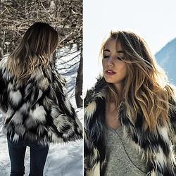 Diamond & Peonie - H&M Fake Fur Jacket, Topshop Top, Zara Jeans - Mountain trip
