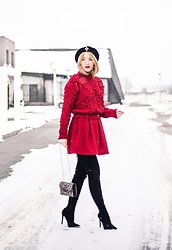 Andreea Ristea - Zaful Red Sweater, Red Pleated Skirt, Black Over The Knee Boots, Animal Print Bag - Black and red