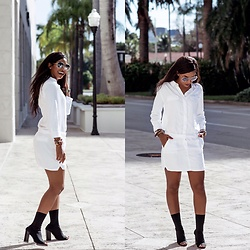 Brittany B - Etienne Marcel Mini Dress, Tony Bianco Malo Heel, Quay Needing Fame Sunglasses - The Shirt Dress