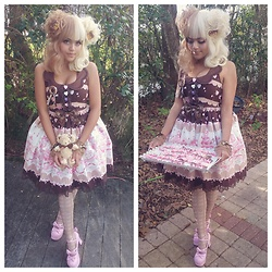 Justice - Baby The Stars Shine Bright Usakumya Chan Is Petit Pâtissier Judy Jsk, Angelic Pretty Melty Chocolate Tights, Silly Sweet Shop Chocolate Drip Bows, Silly Sweet Shop Cookie Bear Clip - Valentine's Day Sweets