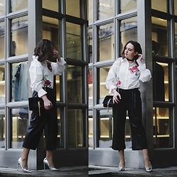 Alina Ermilova - Sheinside Embroidery Shirt, Compagnia Italiana Black Culottes, Ysl Crossbody Bag, Lost Ink Silver Pumps - Million Roses