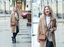 Margarita Maslova - Stradivarius Camel Coat, Michael Kors Bag Selma - BUSINESS CASUAL