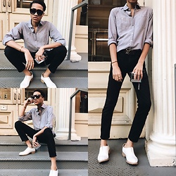 Ty Gaskins - J. Crew Button Up, Louis Vuitton Lv Monogram Belt, Uri Minkoff Reflective Wallet, Theory Ankle Trousers, Acne Studios Shoes, Cartier Love Bracelet, Cartier Love Ring, Jean Paul Gaultier Cologne, Celine Sunglasses - Spring, is that you?