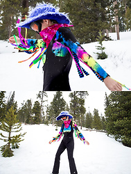 AMINTA ONLINE - We Love Colors Unitard, Thrifted Hat - My first ski trip