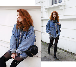 Deliah Alexandra - Asos Denim Jacket, Calzedonia Leggings, Zara Bag - RIVETS & DENIM