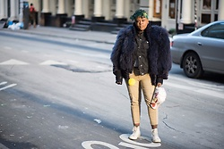 Beoncia Dunn - Comme Des Garçons Garcons Play 2, Shawn Outen Custom Cap, Topshop Black Denim Jacket, Vintage Fur, Manic Panic Nyc - S O H O || downtown G i R L