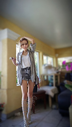 Jenny Violetta - American Apparel Acid Washed High Rise Shorts., G Stage Floral White Top, Just Fab Boots - Focus