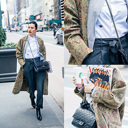 URBAN CREATIVI-TEA - Christian Dior Shirt, Giada Forte Jacket, Natasha Dziewit Coat, Silence+Noise Pants, Balenciaga Boots, Chanel Bag - NYFW 2017 / urbancreativi-tea