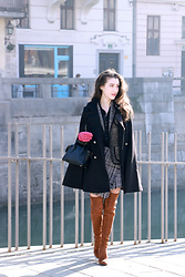 Veronika Lipar - Storets Shauna Tweed Skirt, Stuart Weitzman Brown Over The Knee Boots, Dkny Black Mini Bag, Lord & Taylor Cashmere Lined Leather Gloves, Burberry Black Cotton Shirt - Earn the Stripes You Wear on the Skirt