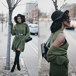 Nkenge Brown - Light In The Box Co Ord Dress And Cardigan, Public Desire Sydney Boots, Forever 21 Double Buckle Belt - Olive Monochrome