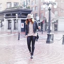 Alexandra G. - Aritzia Leather Jacket, Aritzia Knit Sweater, Aritzia Leather Leggings, Roma Chelsea Gum Rain Boots - Rain Proofed