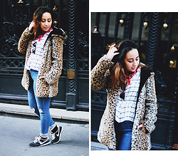 Mafalda M. - Romwe Faux Fur Leopard Coat, Topshop Sequares Checked Shirt, Topshop Ripped Jamie Jeans, Nike Running Trainers, Ray Ban Clubmasters - MADRID LOOK
