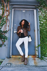 Ria Michelle - Ugg Lacvelle Leather Boot, Blank Nyc White Denim - Up All Night