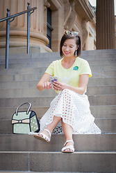 Lindsey Puls - Amazon Team Instinct Shirt, Sheinside White Eyelet Midi Skirt, Salt Water Sandals, Jump From Paper 2d Purse - Pokémon Go Playing Outfit