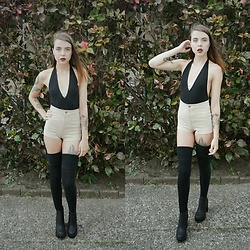 Kelsi Goodwin - American Apparel Black Body Suit, American Apparel Nude Shorts, American Apparel Over The Knee Socks, H&M Boots - Birthday Outfit