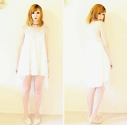 Rachel-Marie - Unbranded Tattoo Choker, Shein White Lace Trim Cami Dress, Find Similar Here Crochet Flats - Beach Date