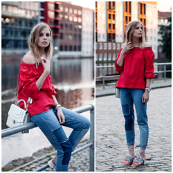 Ruth Pie - Mango Offshoulder Blouse, Topshop Jeans, Chloé Rainbow Heels, Jessica Buurman Bag - Red Offshoulder Blouse