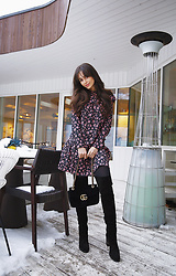 Intrigue U - Asos Floral Dress, Kurt Geiger Thigh High Boots, Gucci Suede Shoulder Bag - Little Floral Dress