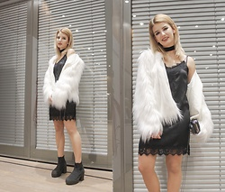 Vlada Kozachyshche - Zaful Fur Coat, Stradivarius Dress, Sinsay Clutch, Stradivarius Choker, Topshop Boots - Celebrity Look