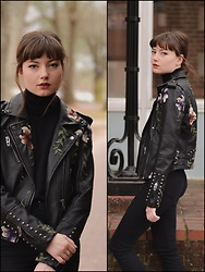 Tiff - Urban Outfitters Vegan Embroidered Moto Jacket - Embroidered + Floral