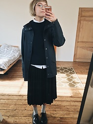 Toni Caroline - Asos White Shirt, & Other Stories Navy Jumper, Rains Rain Jacket, Ymc Pleated Skirt - 17.02.17