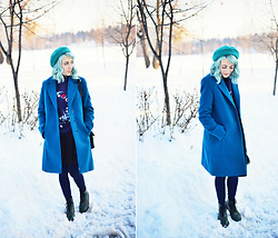 Evelyn Moon - Women Fashion Blue Coat, Pull & Bear Embroided Sweater, Dr. Martens Green Boots - The Bluest Blue