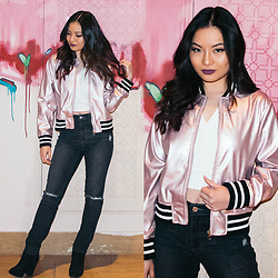 LILMISSBIANCA - Rosegal Pink Metallic Bomber Jacket, Garage Clothing Retro High Waist Jeans - 2202