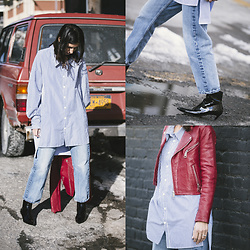 URBAN CREATIVI-TEA - Rag & Bone Jeans, Balenciaga Shoes, Zara Shirt, Sandro Leather Jacket - 21st Street LIC / urbancreativi-tea