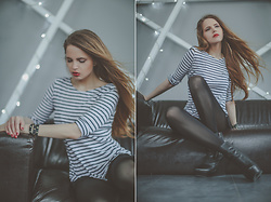Maria * - Sandro Breton Top, Ash Footwear Boots, One Teaspoon Shorts, Wolford Tights - Breton