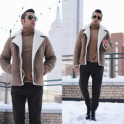 Franko Dean - Asos Shearling Biker Jacket, Dr. Martens Classic Boots, Asos Roll Neck Sweater, Ray Ban Aviator Sunglasses, Zara Wide Trousers - Oh Shearling