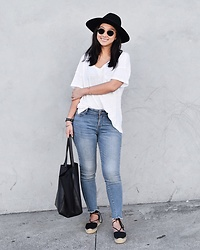 Tiffany Wang - Brixton Hat, Old Navy Tee, Old Navy Jeans, Soludos Sandals - WHITE TEE