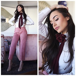 Intrigue U - Zara Bow Tie, Zara Culottes, Sergio Rossi Suede Pumps, Massimo Dutti White Shirt - Burgundy & Rosé