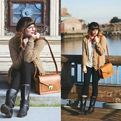 Mackenzie S - Jo Totes Siena Camera Bag, The Frye Company Harness Boots, Urban Outfitters Bdg Cardigan, Free People Striped Tee, Levi's® Beanie, Old Navy High Waisted Leggings - Easy Breezy Beach Towns
