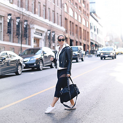 Alexandra G. - Aritzia Leather Jacket, Forever 21 Gym Bag, Converse Sneakers - Sporty Chic