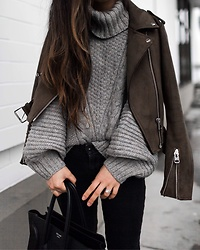 T - Abercrombie & Fitch Sweater, Zara Jacket, Topshop Jeans, Celine Bag - Cable knit sweater + moto