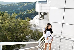 Daphne Blunt - Storets Off The Shoulder White Button Up Blouse, T By Alexander Wang White Denim Button Down Skirt, Gucci Gg Monogram Black/Brown Belt - An Afternoon At The Getty