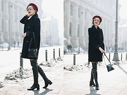 Andreea Birsan - Double Breasted Military Coat, Patent Over The Knee Boots, Mini Crossbody Bag, Red Beret, Cat Eye Glasses - How to look Parisian
