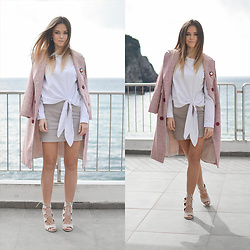 Tamara Bellis - Yoshop The Double Breasted Checked Vinatge Coat, Yoshop Floral Embroidery Tie Blouse, Simmi Shoes Lace Up Heels - Classy in the Sea