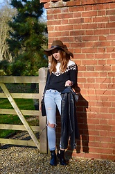 Sophie C - Kylie Leopard Print Sweatshirt, H&M Ripped Jeans, Zara Ankle Boots, Asos Leather Jacket, H&M Brown Floppy Brimmed Hat - A Subtle Nod To The Leopard Print Trend