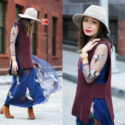Mary G - Sleeveless Sweater, Dezzal Bird Print Dress, Vionic Ankle Boots, Anthropologie Fedora Hat, Vintage Shoulder Bag - Boho Style: Layered Dress & Sleeveless Sweater