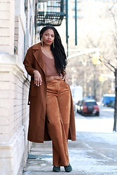 Monroe Steele - Zaful Sweater Crop Top, Dezzal Wool Trench Coat, Derek Lam Suede Pants, Derek Lam Green Suede Pumps - Brown Sugar Spring