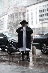 INWON LEE - Byther Noir Wool Felt Hat, Byther Dark Boxy Open Coat, Byther Side Slit Extra Long T Shirts - Rainy Day, Dark Priest